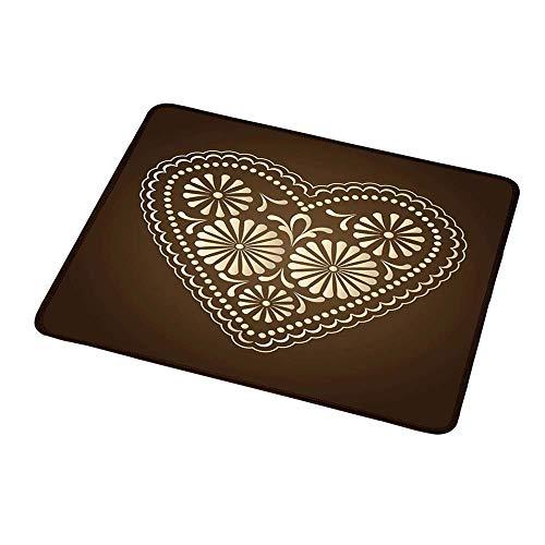 Design Gaming Mouse Pad Schokolade, Romantisches Herzmuster mit Punkten und Blumen lieben Valentinstag Illustration, Brown Beigefor Women