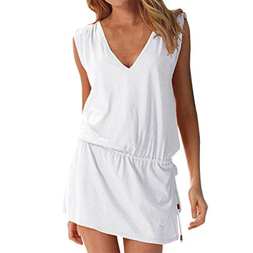 LAPAYA Women's Swim Beach Dress Deep V Neck Open-Back Beach Cover Up Beach Skirt, White, 2-6