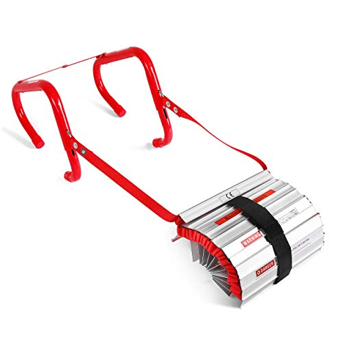 3 story fire escape ladder with anti-slip rungs, emergency escape...