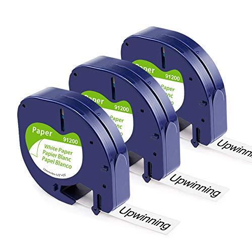5x kompatibel Schriftbänder als Ersatz für Dymo Letratag 12mm x 4m Papier 91220 Etikettenband, Schwarz auf Weiß Schriftbänd Arbeiten mit Dymo Beschriftungsgerät Letratag xr LT100H 100T 110T XM 109
