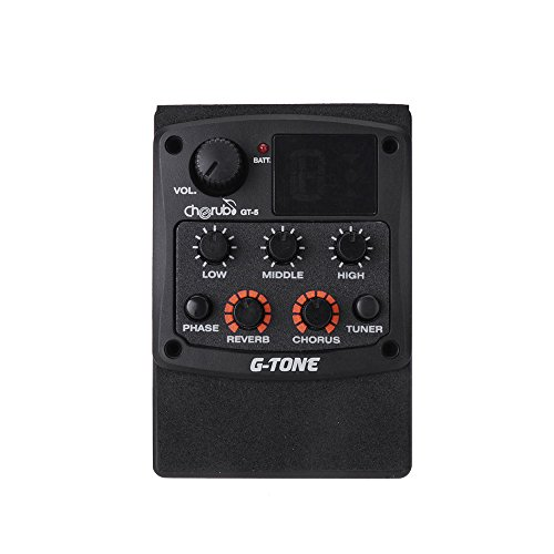 Andoer Cherub G-Tone GT-5 Acoustic Guitar Preamp Piezo Pickup 3-Band EQ Equalizer LCD Tuner with Reverb/Chorus Effects