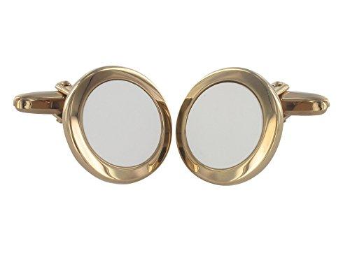 Grom boutons de manchette Blanc Tapis de Agate Argent plaqué or
