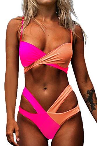 CheChury Mujer Bikini Traje de baño Push-up Dos Piezas Sexy Conjunto de Bikini Brasileño Cruz Acolchado Tops y Braguitas Bikini Bañador Verano