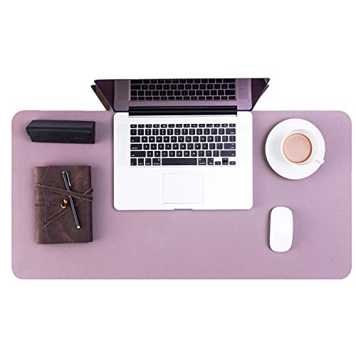 Bedsure Genuine Leather Desk Pad, Office Desk Mat Blotter on top of desks, Large Computer Desk Mat, Waterproof Non Slip Lavender Mouse Desk Pad Protector for Office and Home (Purple, 15.7x31.5 inches)