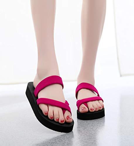 COQUI Zapatillas casa Hombre Divertidas,Chanclas Zapatos de Mujer, Zapatillas de Mujer, Sandalias de Mujer, Suelas Gruesas de tacón Alto Fuera de la Playa-Rojo_37