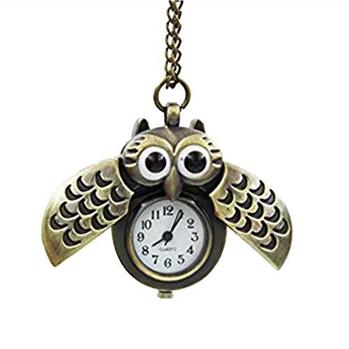 Hosaire, orologio da taschino in stile vintage, con ciondolo a forma di gufo, in acciaio color argento e bronzo al quarzo, con collana, ideale come regalo di benvenuto per donne e ragazze