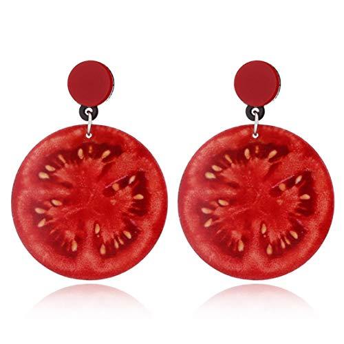 Botreelife Süß Wassermelone Erdbeer Zitrone Kirsche Acryl Obst Form Ohrringe Für Frauen, Tomate