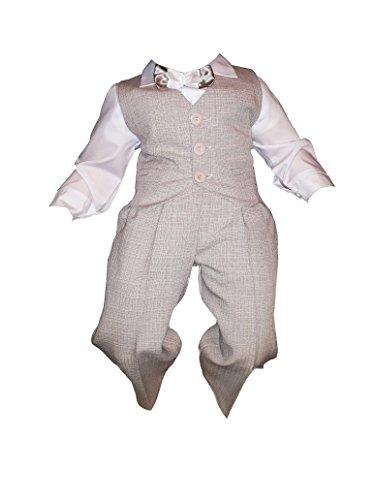 Taufanzug, Festanzug, Jungenanzug, 5tlg,Beige-Weiß,Baby Junge Kinder Taufe Hochzeit Anzüge K10B Größe 92