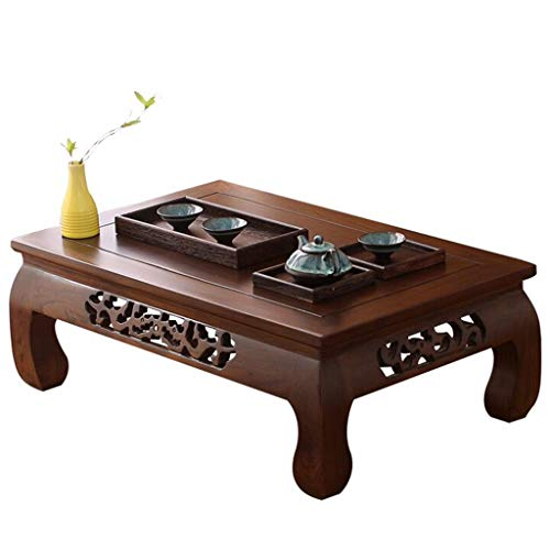 Chi Cheng Fang Electronic business Japanese Tatami Coffee Table Bay Window Table Low Table Desk Solid Wood Antique Small Coffee Table Strong Durable (Color : Brown, Size : 60 * 40 * 25cm)