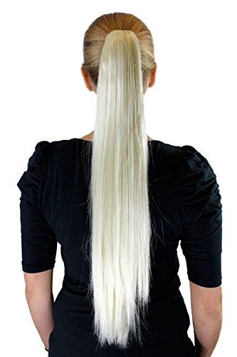 Extension, postiche, blond platine, couette / tresse, pince papillon, lisse, long, env. 65 cm, XF-6464-613