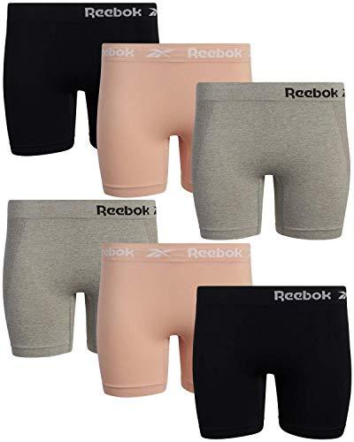 Reebok Women's Underwear – Long Leg Seamless Slip Short Boyshort (6 Pack), Size Medium, Rose Dust/Grey/Black