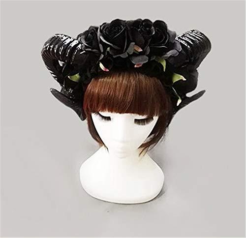 Changlesu - Serre-tête vintage style victorien fait à la main avec cornes de mouton, roses noires et voile de dentelle pour soirée déguisement, Sans voile.