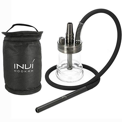 INVI® Nano Black Edition Shisha Set Mit Reisetasche - Inklusive Schlauch & Adapter - Shisha Zubehör Mit Dichtungen & Diffusor - 19 cm Höhe (Gun Metal)