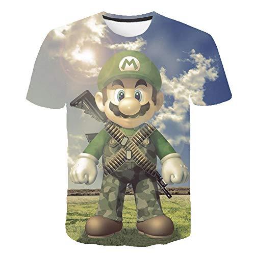 T-shirts Unisex 3D Afdrukken Anime T-shirts Mario Spel Patroon Shirt Mode Streetwear Cosplay Tee Herdenken Kostuum Los Gewoontjes Korte mouw Ronde nek Zomer Hip Hop Tops,XXL