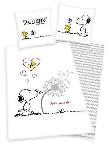 Herding Peanuts Bettwäsche Snoopy 80 x 80 + 135 x 200 cm, Weiß