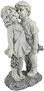 Design Toscano NG30739 Young Sweethearts Kissing Children Outdoor Garden Statue, 22 Inch, Two Tone Stone