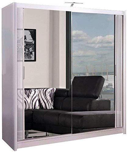 Armario de 2 o 3 puertas correderas con espejo con luz LED, 90 cm, 120 cm, 150 cm, 180 cm, 203 cm, 250 cm, color blanco, negro, gris, nogal y roble 203cm blanco