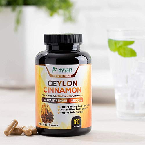 Certified Organic Ceylon Cinnamon (Made with Organic Ceylon Cinnamon) 1800mg - Organic Sri Lanka Ceylon Cinnamon Powder Pills - Made in USA - Best Vegan Blood Sugar Support Supplement - 180 Capsules