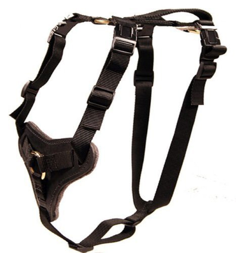 Nylon and Leather Working Dog Harness for Protection and Tracking - Redline K9 (Medium)