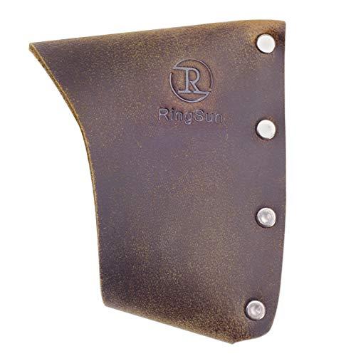 RingSun Leather Hatchet Blade Cover, Hatchet Sheath & Hatchet Cover, Lumberjack Outdoors Work Essentials Axe Sheath, Brown,RS11