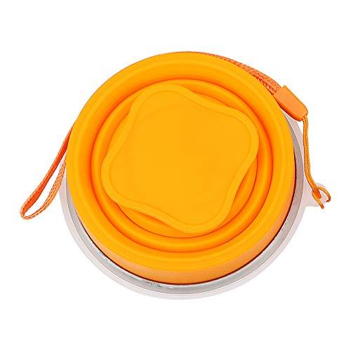 Holdream 1 Stück Teetasse Tragbare Teleskop-Trinkbecher Silikon (orange)