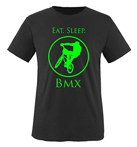 Comedy Shirts - EAT. Sleep. BMX - Kinder T-Shirt - Schwarz/Neongrün Gr. 152-164