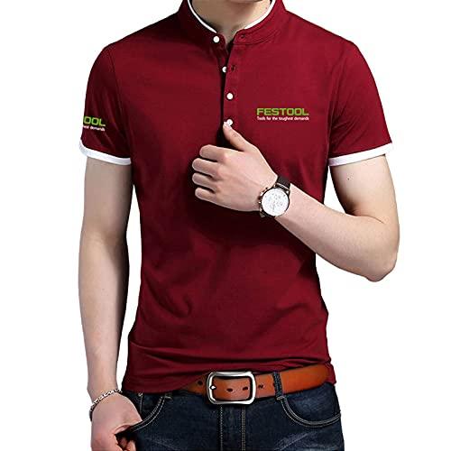 GOSUCPO Camisa de cuello alto para hombre Camiseta de manga corta con estampado de LOGOTIPO Fes-tools Camisetas de polo de algodón para hombres y mujeres Engranaje/Rojo/XXL