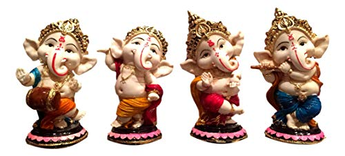 Dancing Ganesh Statue Murti Ganapati Hindu-Gott Krishna Flöte Dhol – Set von 4