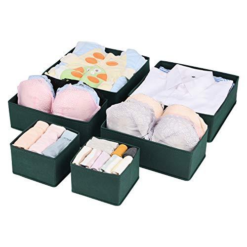 UMI. Essentials Aufbewahrungsbox Kleiderschrank Organizer 6er Set, Schubladen Ordnungssystem Organizer für Unterwäsche BH Dessous Socken, Stoffbox Faltbox für Schubladen Schrank- Dunkelgrün