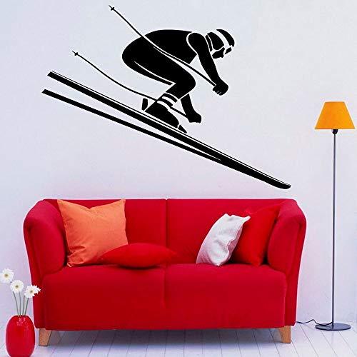 Ski Wandtattoos Skifahrer Winter Extremsport Türen Fenster Vinyl Aufkleber Teen Schlafzimmer Wohnzimmer Wohnkultur Tapete abnehmbare Wohnkultur Wandaufkleber57x63 cm