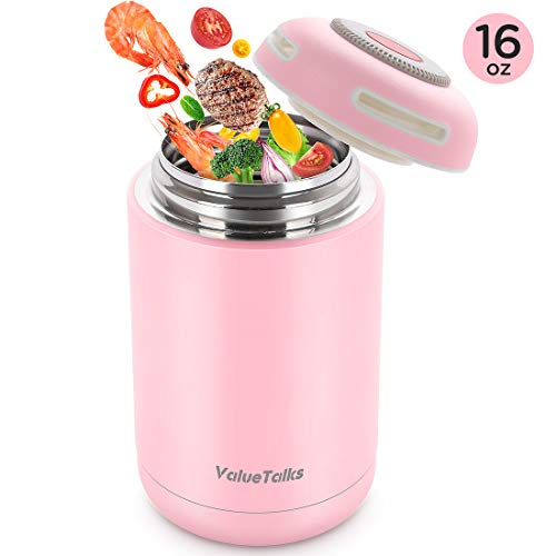 ValueTalks Insulated Food Jar for Hot Cold Food, Stainless Steel BPA Free Thermos Lunch Container, Leak Proof Double Wall Vacuum Insulated Soup Container, For Kids/Adult Food Storage Camping-16 OZ