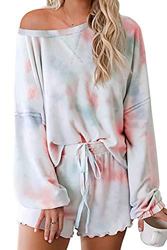 2020 Womens Tie-dye ruches pyjama Set Cozy lange mouwen korte broek PJ Set Loungewear Nachtkleding Slaapkleding, Gradiënttijd