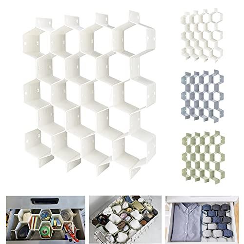 Ahoky Separador de panal de abeja, organizador de cajones ajustable, divisor de plástico, divisores de almacenamiento para ropa interior, bufanda, calcetines, bras, cinturones,...