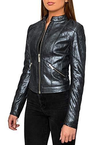 Crone Juna Damen Lederjacke Cleane Leichte Basic Wildleder Jacke aus weichem Echtleder (L, Silver Shiny Flakes (Glattleder))