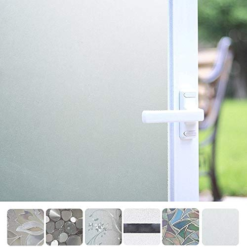 Bloss Non-Adhesive Static Privacy Window Film, Frosted Decorative Cling Glass Film for Home or Office (White,17.7-by-78.7 Inch)