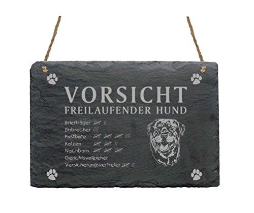 Schiefertafel « ROTTWEILER - VORSICHT FREILAUFENDER HUND » Größe ca. 22 x 16 cm - Schild mit Hunde Motiv - Türschild Garten Terrasse Haustür Tor