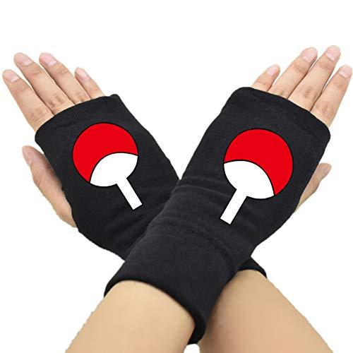 GOTH Perhk Anime Naruto Handschuhe Cosplay Handschuhe Fingerlose Handschuhe Half Finger Bedruckte Handschuhe Geschenk für Anime Fans Gr. Einheitsgröße, H05