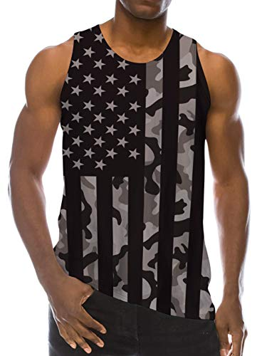 Loveternal Mens Cool Camouflage Tank Top 4th of July Stripe Flag Graphics Tees Summer Casual National Day Workout Gym Running Festival Sleeveless Shirt Youth Comfy Underwear L