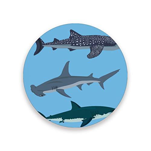 FANTAZIO Haaien Cup Mat Coaster voor Wijnglas Thee Coaster met Varying Patronen Geschikt voor Soorten Mokken en Bekers 1 piece set 1 exemplaar