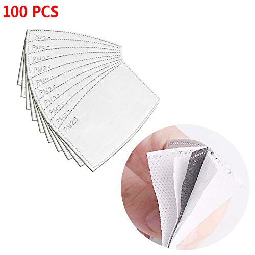 Profesional PM2. 5 Inserto de Filtro de Carbón Activado Inserto de Medios de Filtro Protector, Filtro de carbón Activado por máscara de algodón (100)
