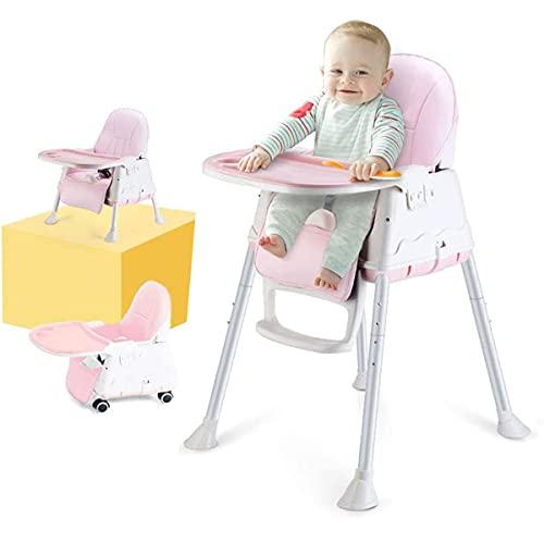 Trona para Bebes, LADUO Trona Portatil y Convertible con 4 Ruedas, Bandeja Ajustable, Cojín Comfort para Bebé (Rosa)