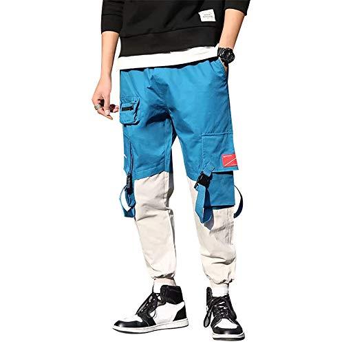 Dcola Pantalones De Jogging para Hombres Pantalones De Hip Hop Deportivos Multibolsillos Negros, Pantalones Cargo De Moda Urbana, Pantalones De Combate para Adolescentes Y Niños Pequeños(XL,Blue)