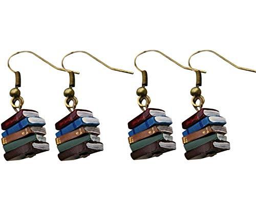 Zhengbenchang Stack of Books Earrings, 2 Pairs Multicolor Book Pendant Earrings, Retro Earrings for Women Girl Stylish Jewelry Gift