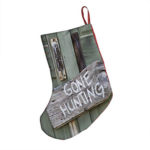 GULTMEE Christmas Stocking,Gone Hunting Written on Wooden Board Old Worn Out Cottage Door Seasonal Hobby Fun,Xmas Holiday Stocking Tube Socks 18 Inches