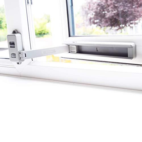 BeeGo - Cerraduras de seguridad para ventanas de UPVC, madera, metal, aluminio, autoadhesivas, sin herramientas ni perforaciones, fácil instalación, 1 cerradura, color gris