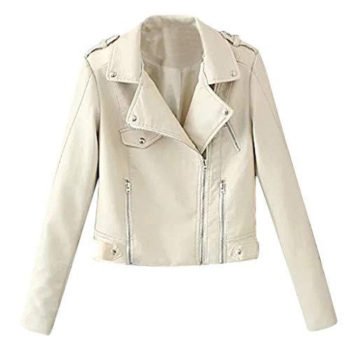 TEFIIR Damen Revers Lederjacke mit Zip Nieten Kapuzenjacke Stilvolle und Personalisierte Streetwear Lose Tops Beiläufig Herbst/Winter Jacke