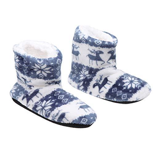IMIKEYA Weihnachten Slipper Socken Weihnachten Hirsch Muster Stiefel Korallen Fleece Druck Socke Kälteschutz Wamer Schuhe für zu Hause Erwachsene (blau 39-41 Größe)