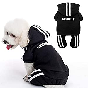 BINGPET Security Dog Hoodie – Soft and Warm Dog Sweater, Cold Weather Clothes for Dogs, Sweatshirt with Hat, Winter Dog Coat, for Small Medium Large Dogs – Black