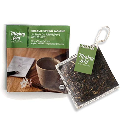 Mighty Leaf Organic Tea Pouches, Green Tea Bags in Individual Foil Packs, USDA Organic, Spring Jasmine, 100 Count