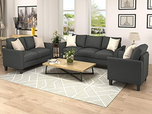 Merax 3 Piece Sofa Set, 3 Piece Living Room Set Sofa Set Include Armchair Loveseat Couch